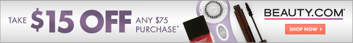 Beauty.com $15 off $75 purchase
