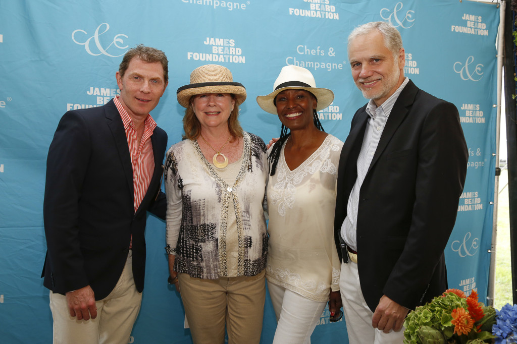 Chef Bobby Flay, President of the James Beard Foundation Susan Ungaro, B. Smith and Wolffer Estates, Roman Roth,  (Photo by Mark VonHolden/Invision for James Beard Foundation/AP Images)