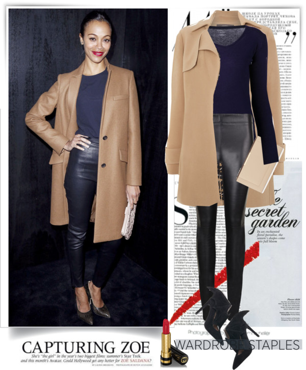 Leather pants with a camel coloured coat